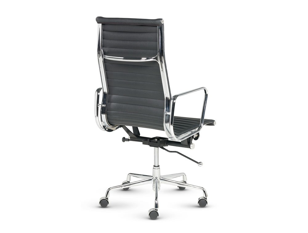 Libra executive ribbed black leather swivel armchair in high back view from back