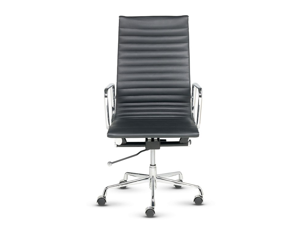 Libra executive ribbed black leather swivel armchair in high back front view