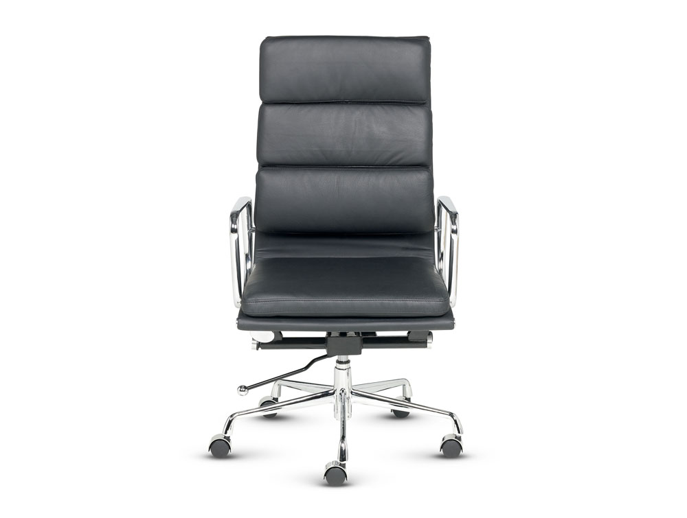 Libra executive soft padded black leather swivel armchair in high back front view