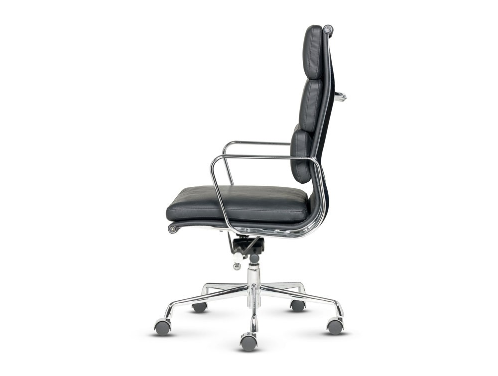 Libra executive soft padded black leather swivel armchair in high back side view