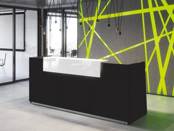 Libra Premium Black High Gloss Office Reception Desk Unit with Icy White Acrylux Finish Riser in Modern Office