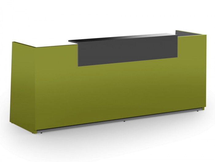 Libra Premium Green High Gloss Office Counter Unit with Anthracite Riser