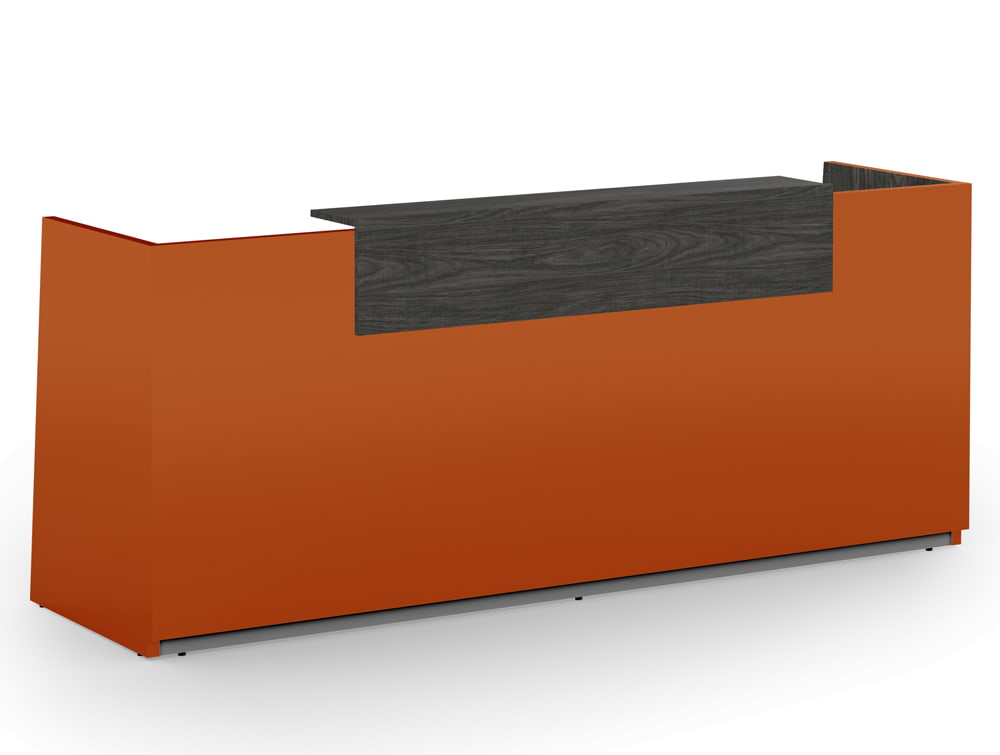 Libra Premium High Gloss Office Reception Counter Unit in Acrylux Orange with Wooden Carbon Walnut Finish Riser