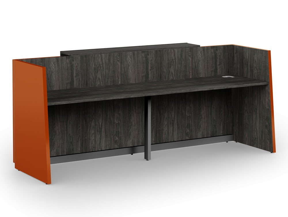 Libra Premium High Gloss Office Reception Counter Unit in Acrylux Orange with Wooden Carbon Walnut Finish for Inner Elements