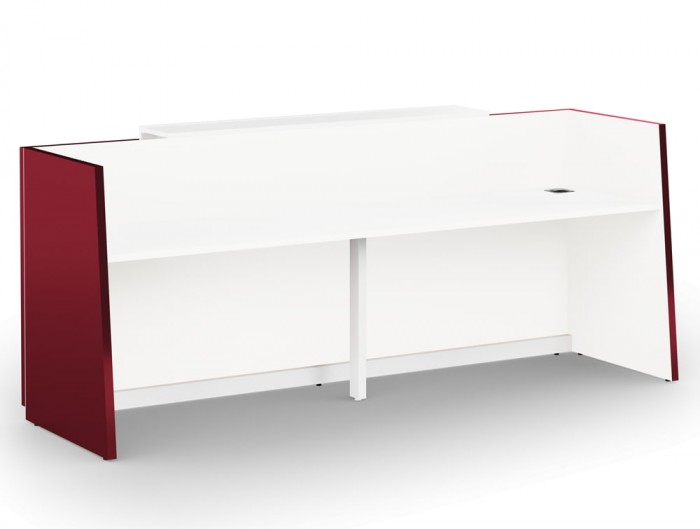 Libra Premium Reception Counter in Red Acrylux Finish with White Inner Elements