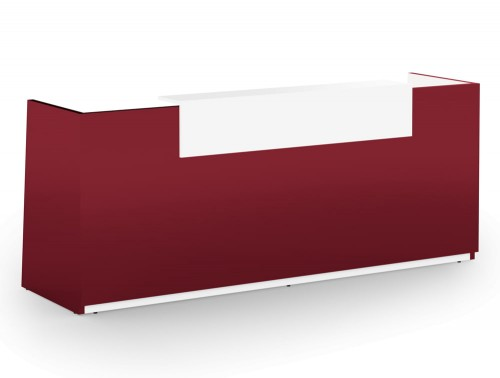 Libra Premium Reception Counter in Red Acrylux Finish with White Riser