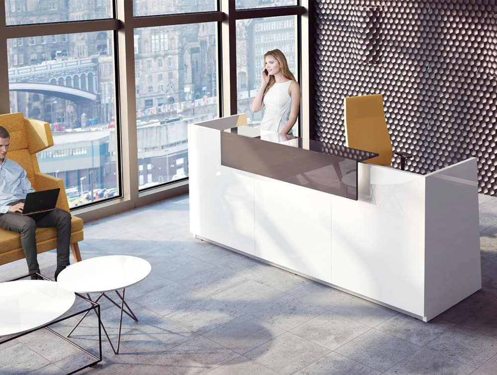 Libra Premium White High Gloss Office Reception Counter with Dark Brown Riser and Yellow Executive and Lounge Chair Waiting Area