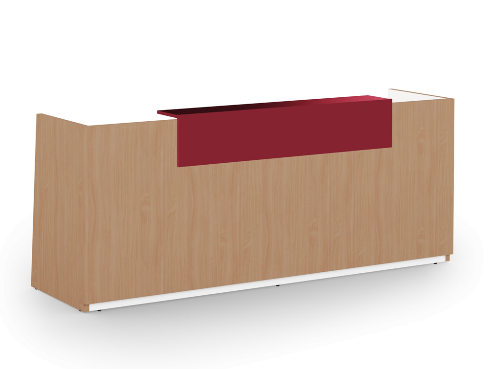 Libra Wooden Beech Finish Office Reception Desk Unit with Acrylux Red Riser