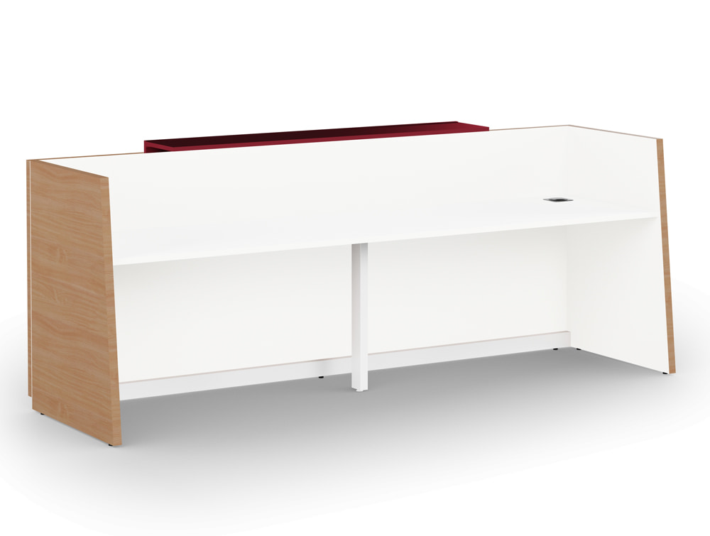 Libra Wooden Beech Finish Office Reception Desk Unit with White Outer Elements