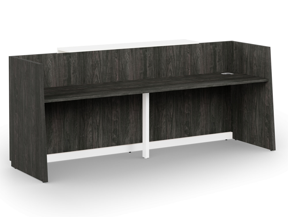 Libra Wooden Carbon Walnut Office Reception Desk Counter Unit with Cable Management