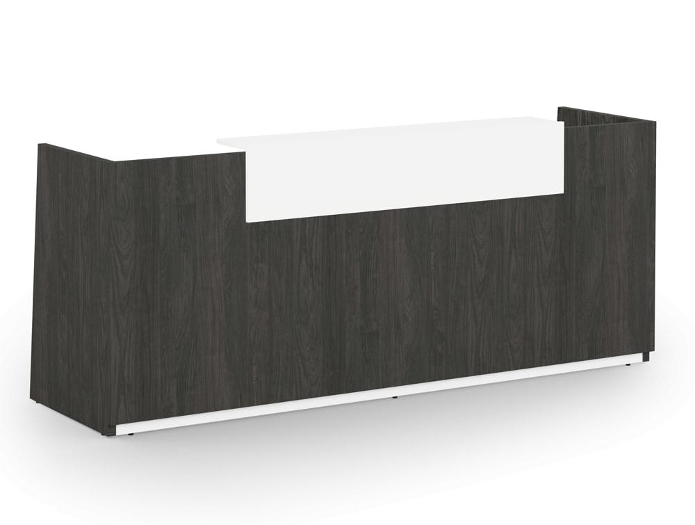 Libra Wooden Carbon Walnut Office Reception Desk Counter Unit with White Riser