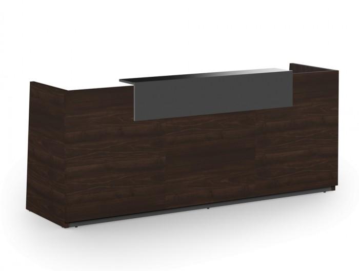 Libra Wooden Dark Walnut Desk Counter for Reception Area with Anthracite Riser