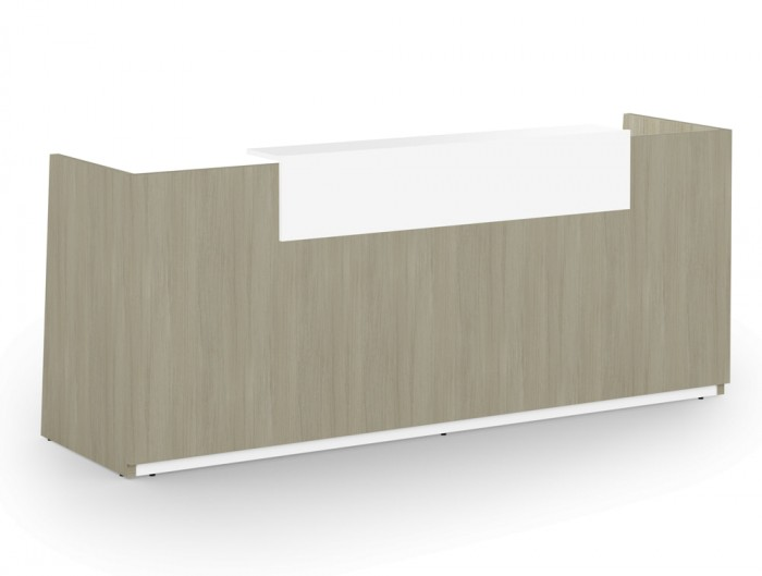 Libra Wooden Office Reception Counter Unit in Arctic Oak and White Riser