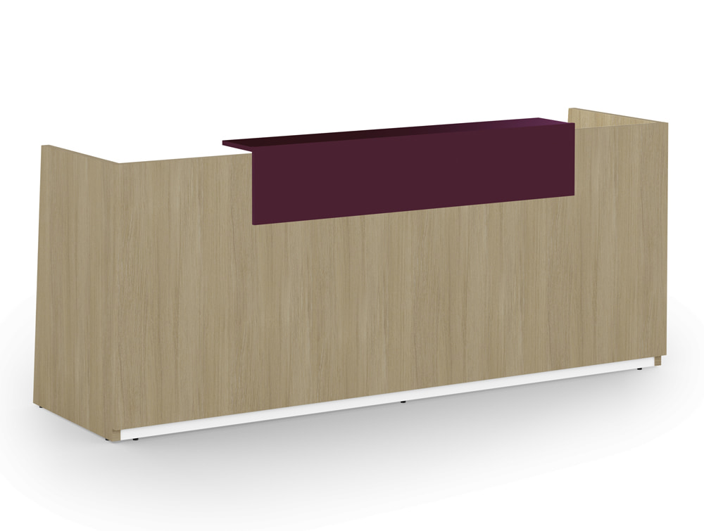 Libra Wooden Office Reception Desk Unit in Arctic Oak with Acrylux Purple Riser