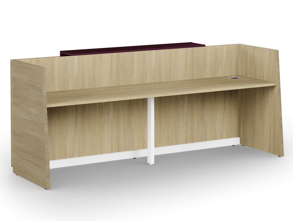 Libra Wooden Office Reception Desk Unit in Arctic Oak with Cable Management