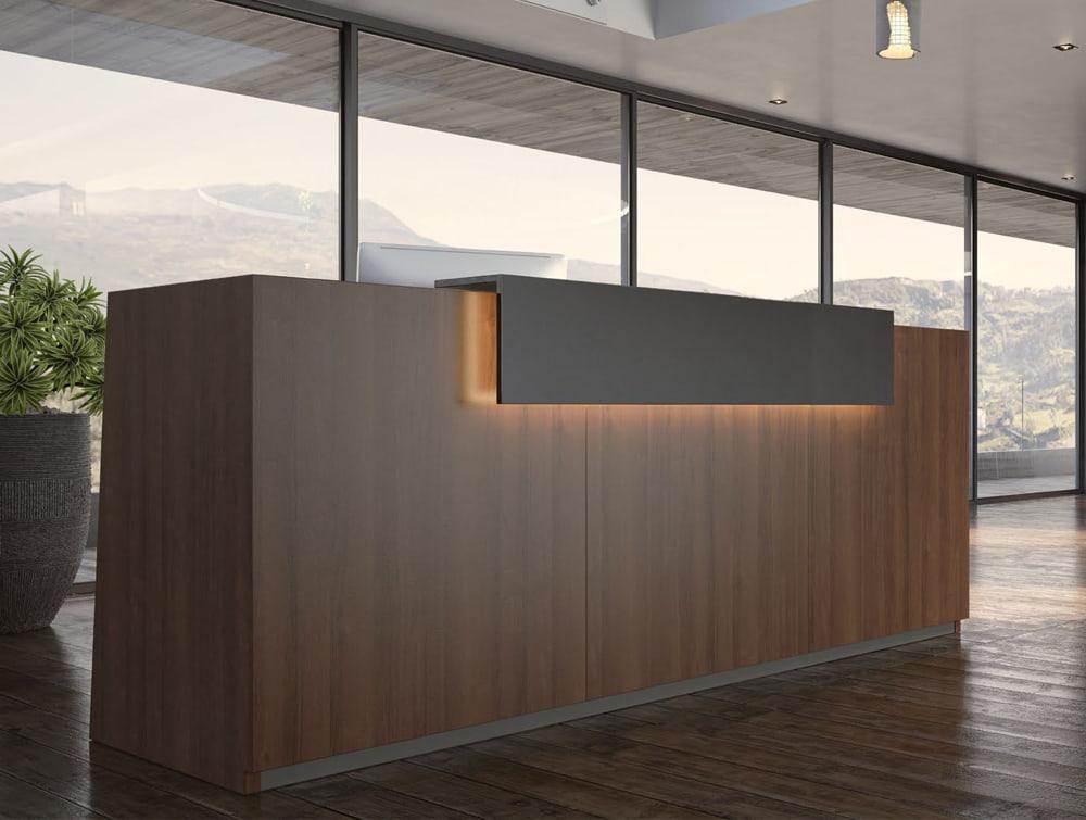 Libra Wooden Office Reception Desk Unit in Dark Walnut with Schwarz Black Riser in Modern Green Office