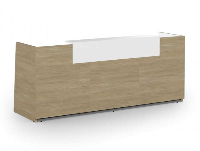 Libra Wooden Reception Counter in Urban Oak for Office with White Riser