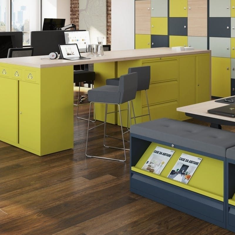 Lime Green Storage Systems with Stools and Benches