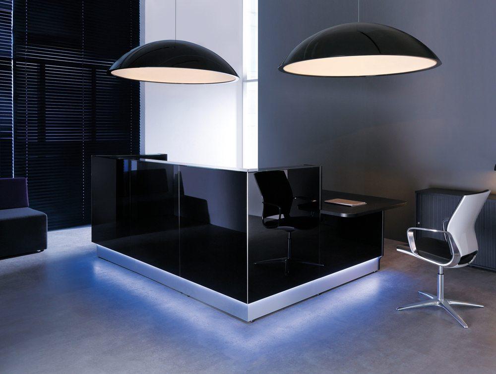 Linea glass reception counter in dark brown