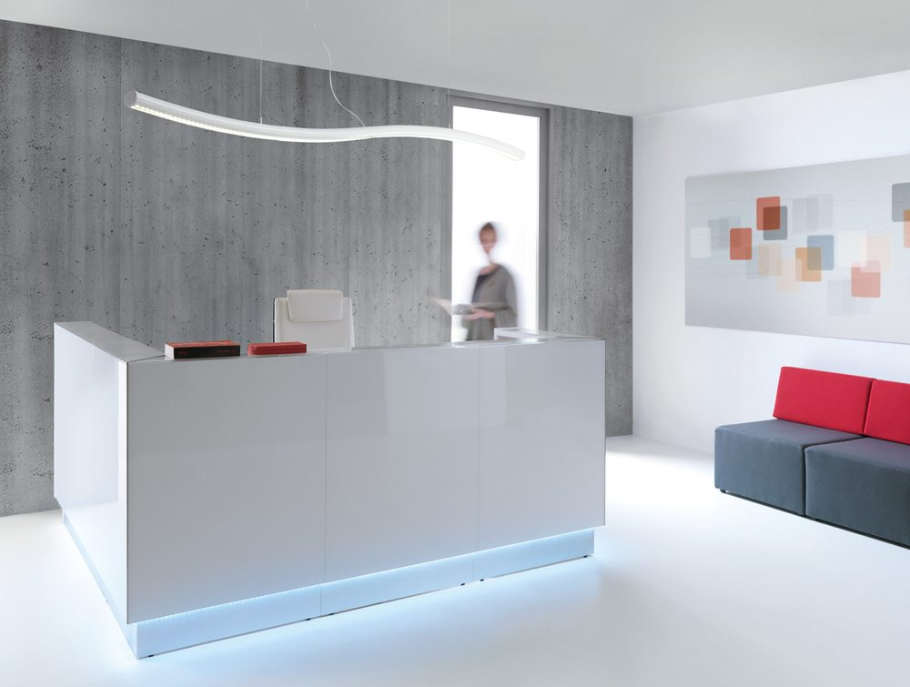 Linea glass reception counter in grey