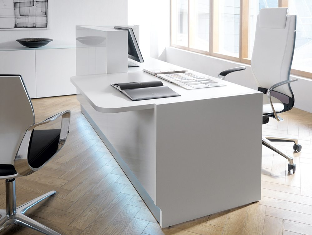 Linea glass reception counter in grey side angle