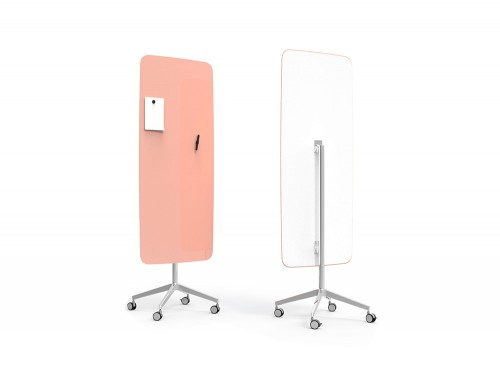 Lintex Flow 4-Star Base Mobile Glass Magnetic Writing Surface Board in Lush Orange Pink Colour Finish