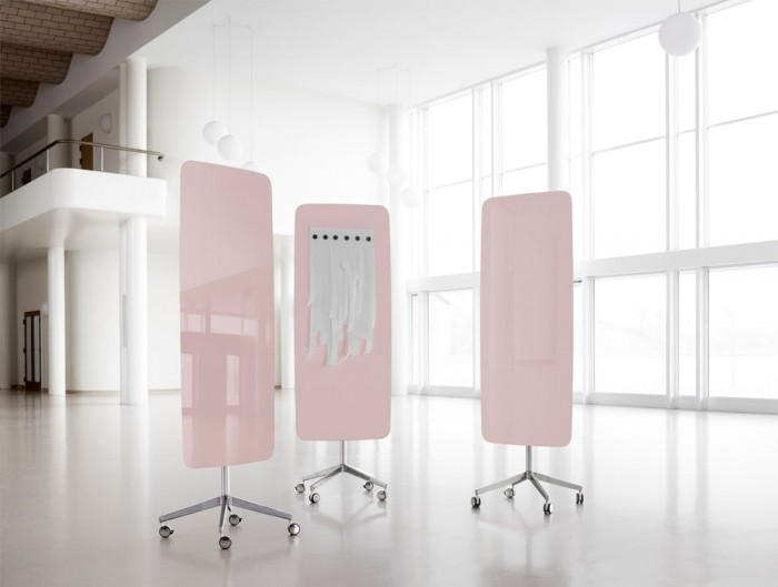 Lintex Flow Freestanding Glass Writing Board in Pink Colour Finish with 4-Star Base Castors Wheels