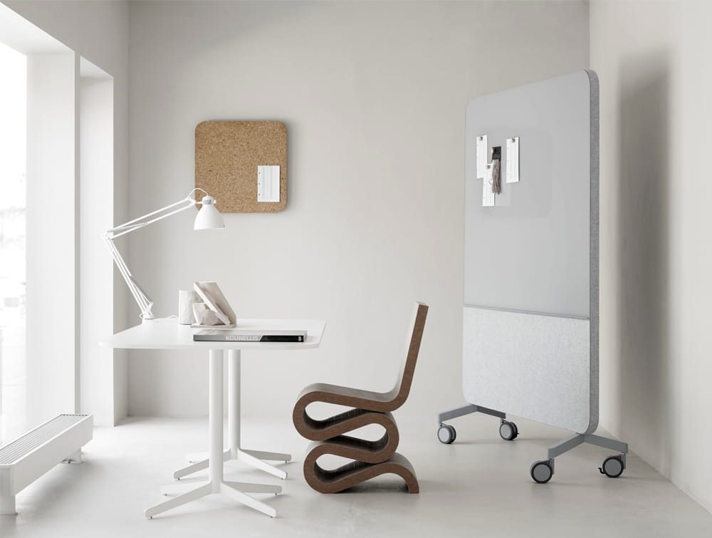Lintex Large Mood Fabric with Glass Writing Board and Textile Front in Office with White Straight Desk and Design Wooden Chair