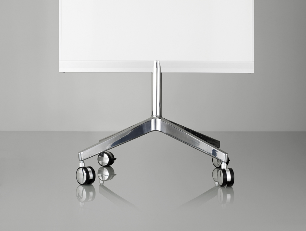 Lintex M3 Mobile Whiteboard with 4-Star Base in Polished Aluminium Castors Wheels Included