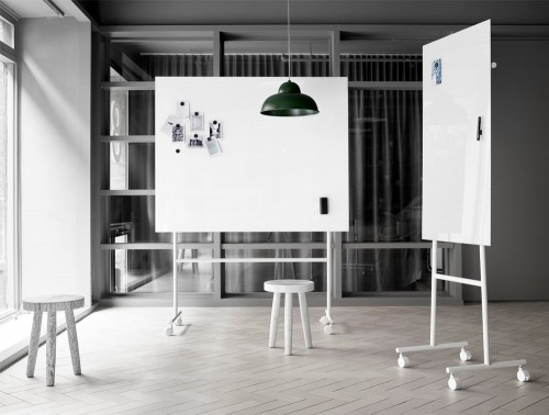 Lintex Mono Mobile Glass Whiteboard with Magnetic Surface and Wooden Stool