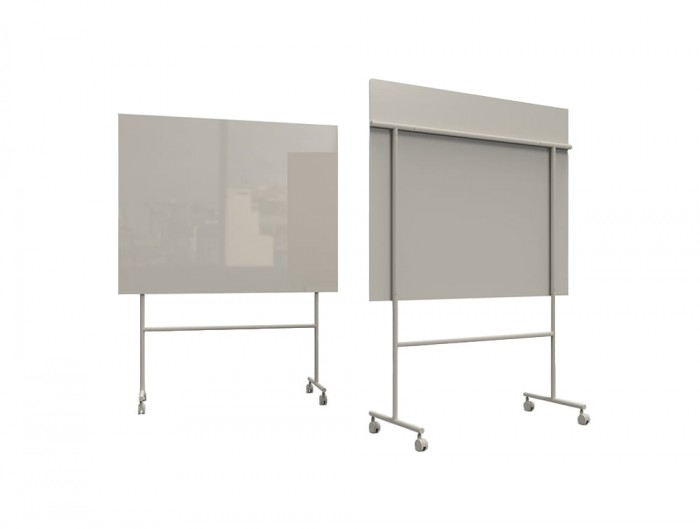 Lintex Mono Mobile Glass Writing Board in Beige for Modern Offices 1507