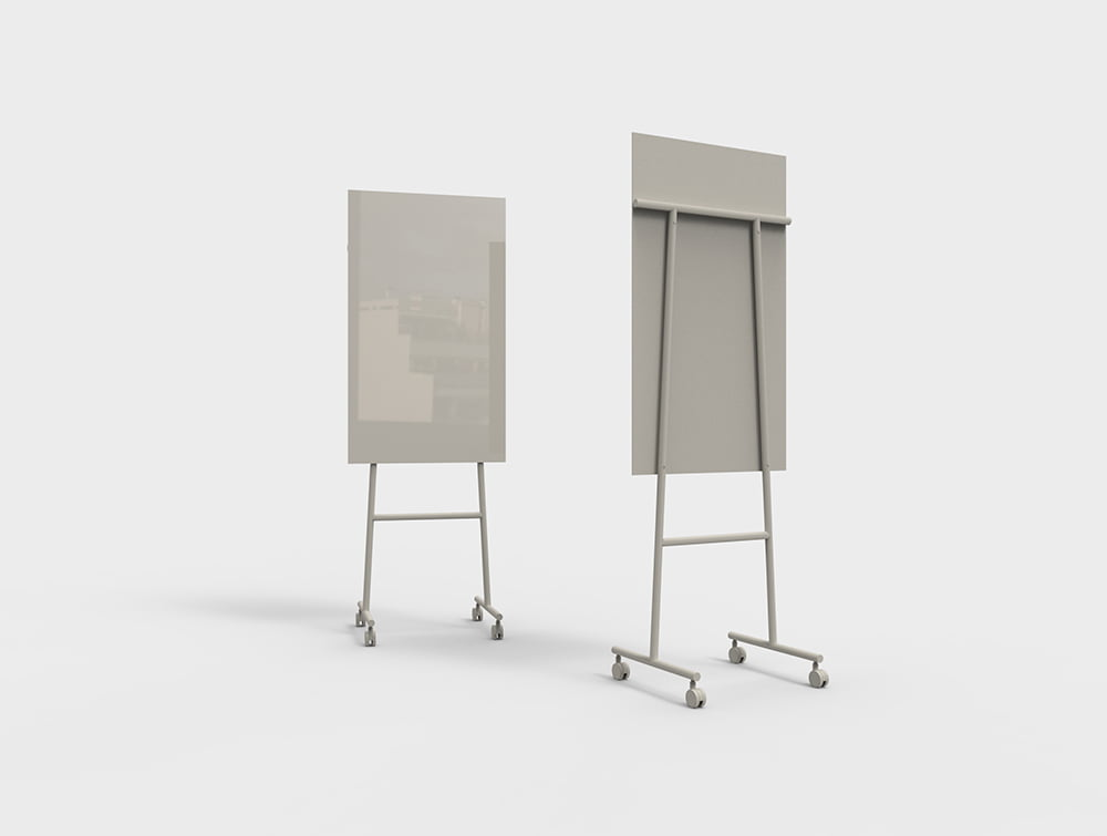 Lintex Mono Mobile Glass Writing Board in Beige for Modern Offices 707