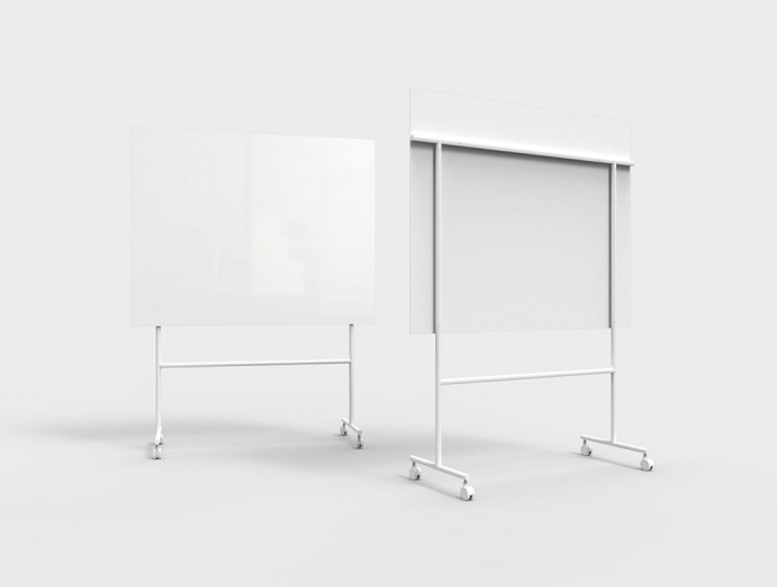 Lintex Mono Mobile Glass Writing Board in White for Modern Offices 1507
