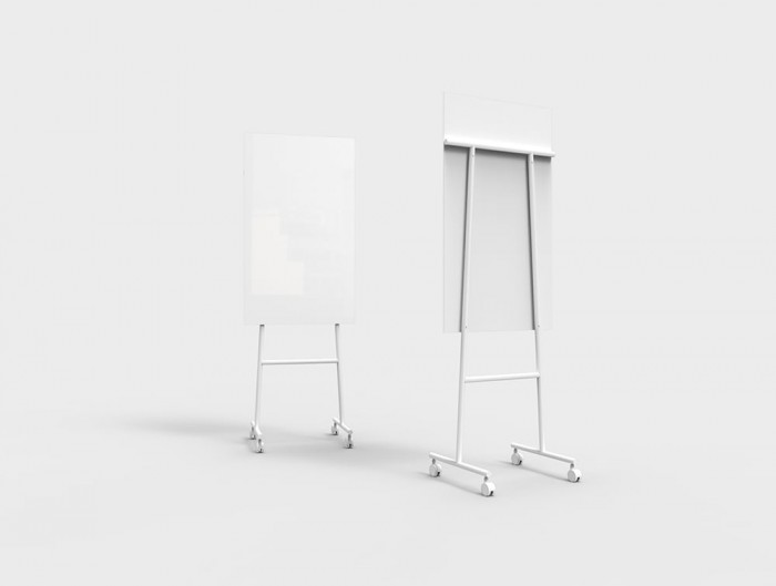 Lintex Mono Mobile Glass Writing Board in White for Modern Offices 707