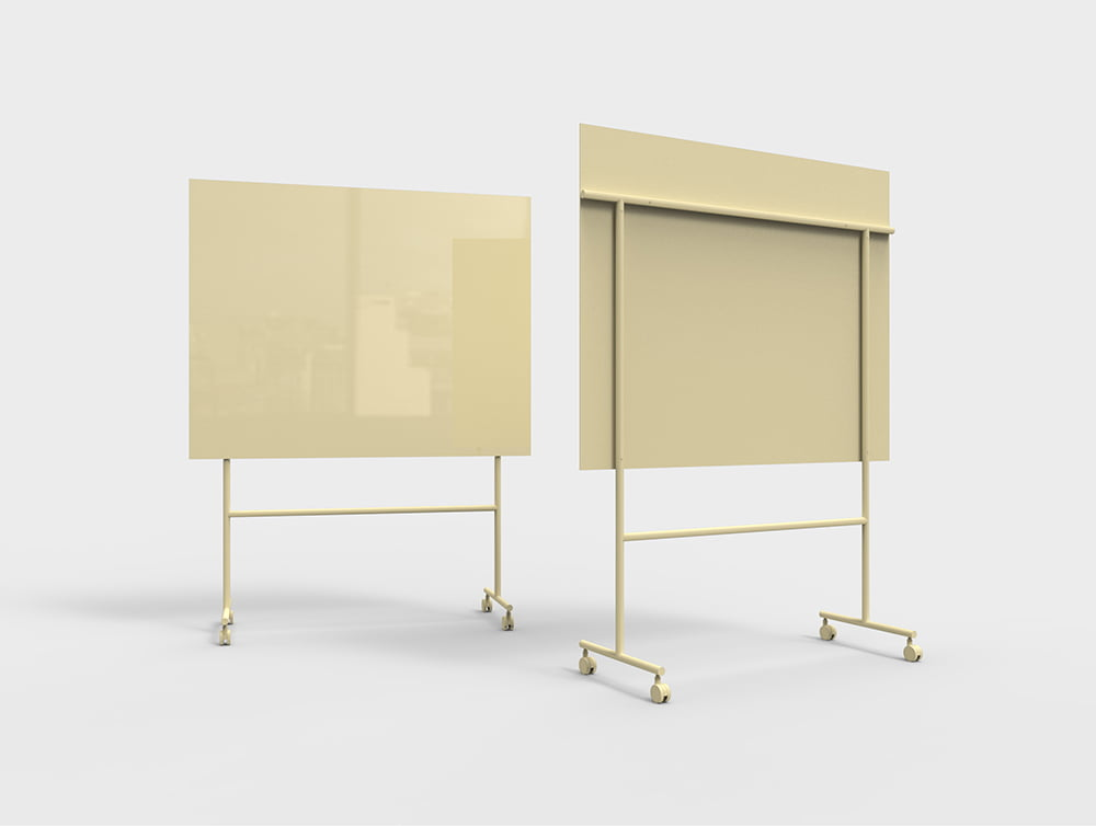 Lintex Mono Mobile Glass Writing Board in Yellow for Modern Offices 1507
