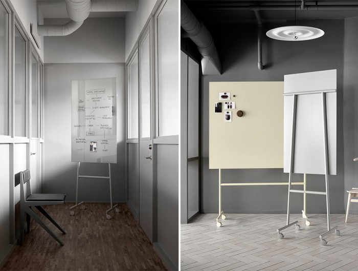 Lintex Mono Mobile Wrting Board for Office Meeting Room in White and Yellow with Castors Wheels