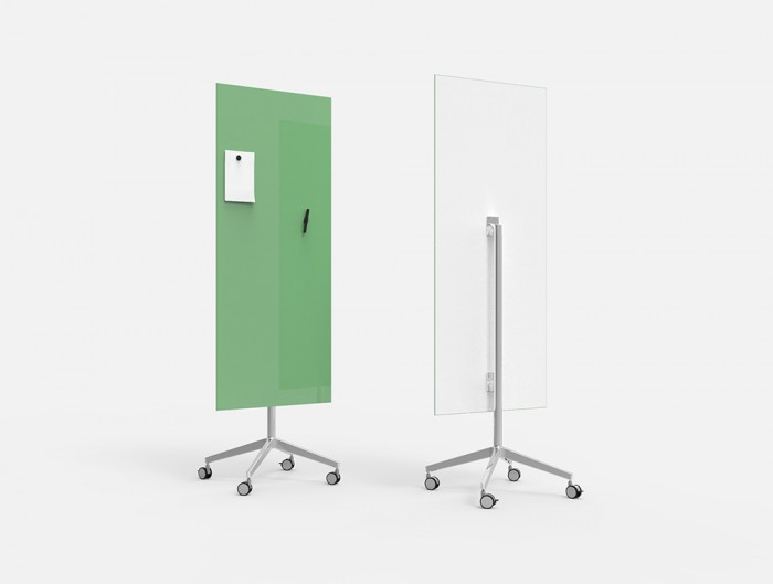 Lintex Mood 4-Star Base Mobile Glass Magnetic Writing Surface Board in Hopeful Green Colour Finish