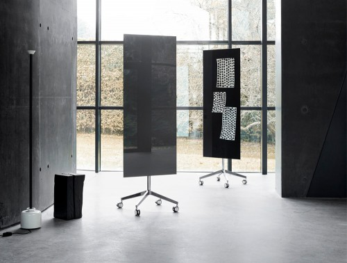 Lintex Mood 4-Star Base Mobile Glass Writing Surface Board in Grey and Black