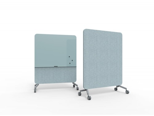 Lintex Mood Fabric Body Glass Writing Board for Office Meeting Rooms Large in Blue