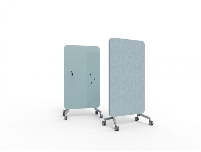 Lintex Mood Fabric Body Glass Writing Board for Office Meeting Rooms Small in Blue