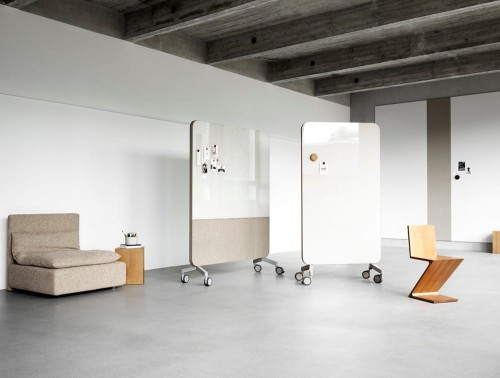 Lintex Mood Glass Fabric Writing Board in Beige with Modular Seating Sofa and Design Wooden Stool