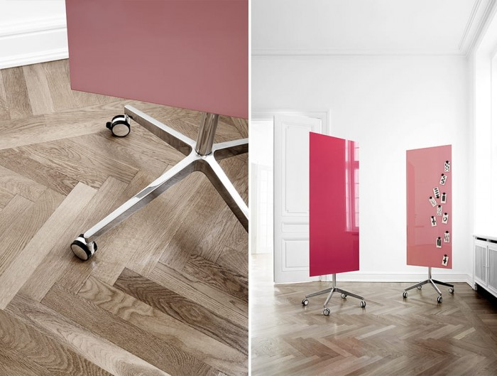 Lintex Mood Mobile Glass Writing Board in Shades of Pink with Magnetic Surface and Polished Aluminium Base with Castors Wheels