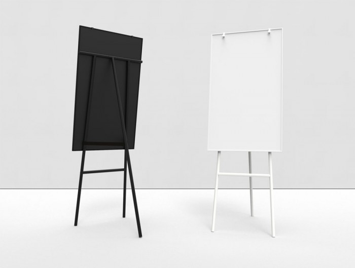 Lintex ONE Classic 3-Legged Flip Chart Easel with Hooks in Black and White