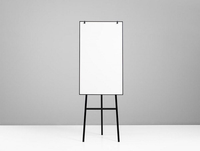 Lintex ONE Classic 3-Legged Flip Chart Easel with Magnetic Writing Surface with Hooks in Black