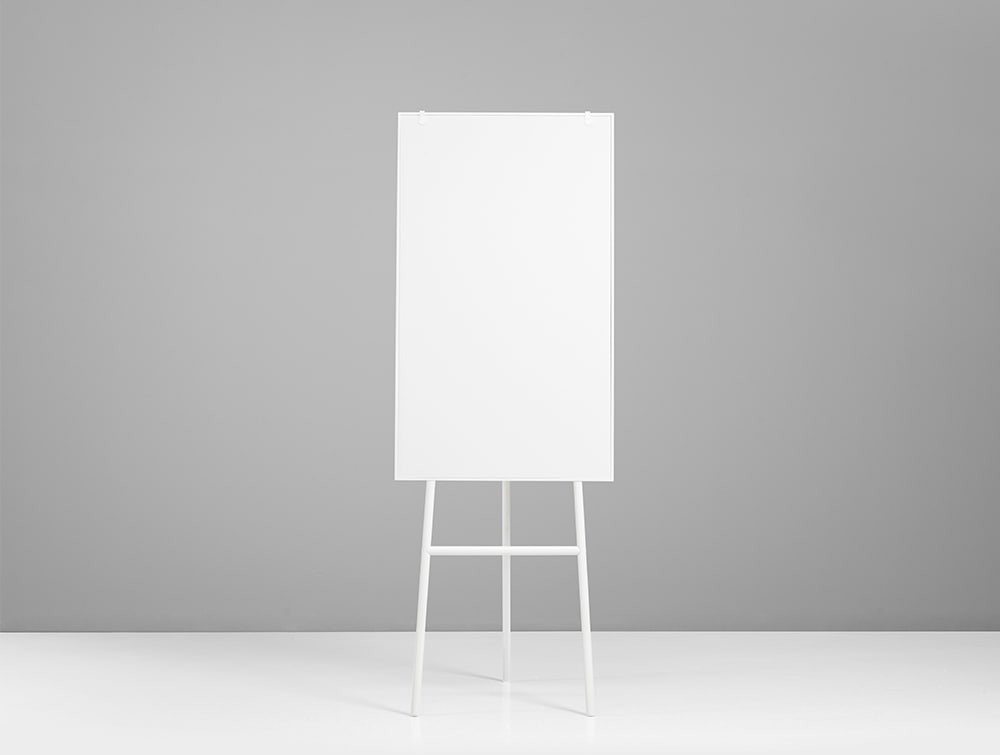 Lintex ONE Classic 3-Legged Flip Chart Easel with Magnetic Writing Surface with Hooks in White