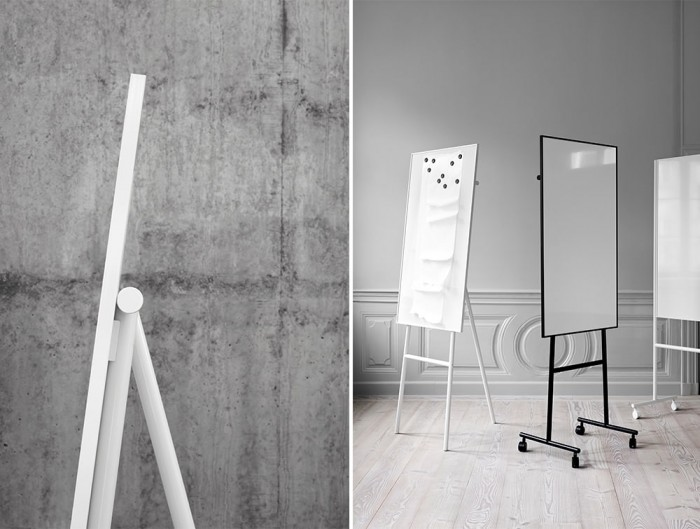Lintex ONE Classic Flip Chart Easel with Mobile Whiteboard Magnetic Surface in White or Black Finish