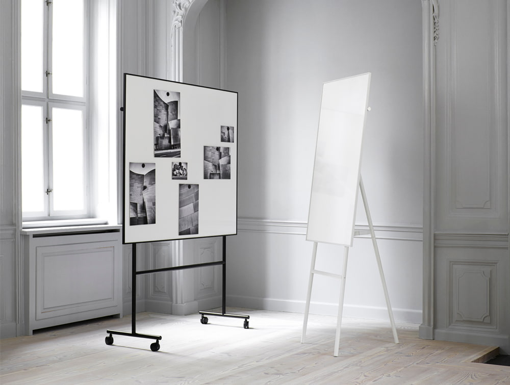 Lintex ONE Classic Flip Chart Writing Board in White with Mobile Whiteboard in Black for Meeting Rooms