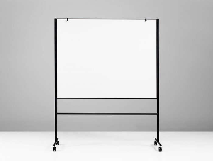 Lintex ONE Mobile Double Sided Magnetic Surface Whiteboard with Adjustable Flip Chart Hooks in Black