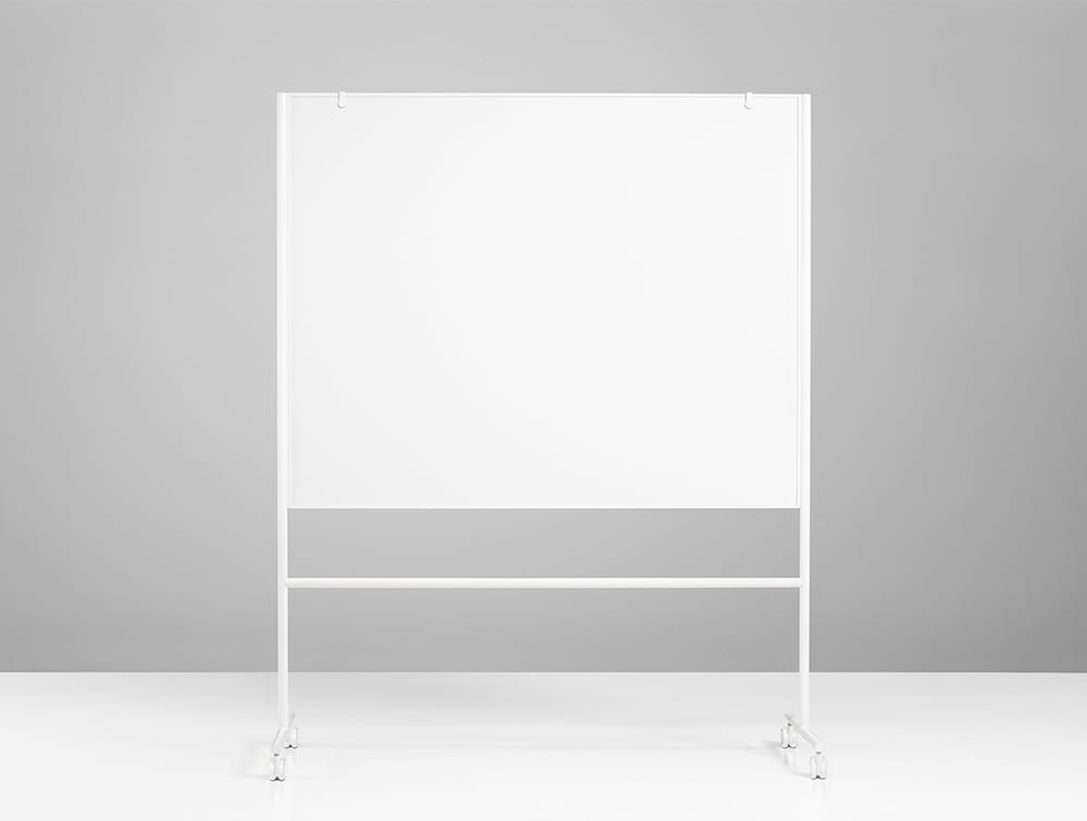 Lintex ONE Mobile Double Sided Magnetic Surface Whiteboard with Adjustable Flip Chart Hooks in White