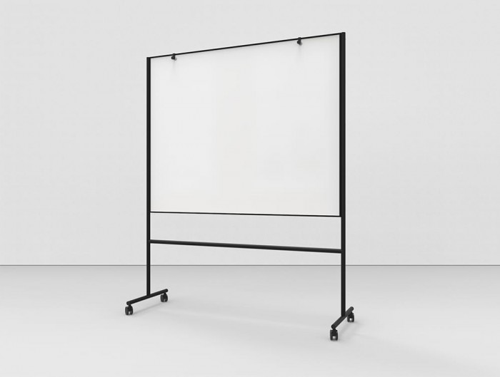 Lintex ONE Mobile Double Sided Writing Board with Adjustable Flip Chart Hooks and Castors Wheels in Black Aluminium Frame